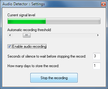 'Audio detector' settings